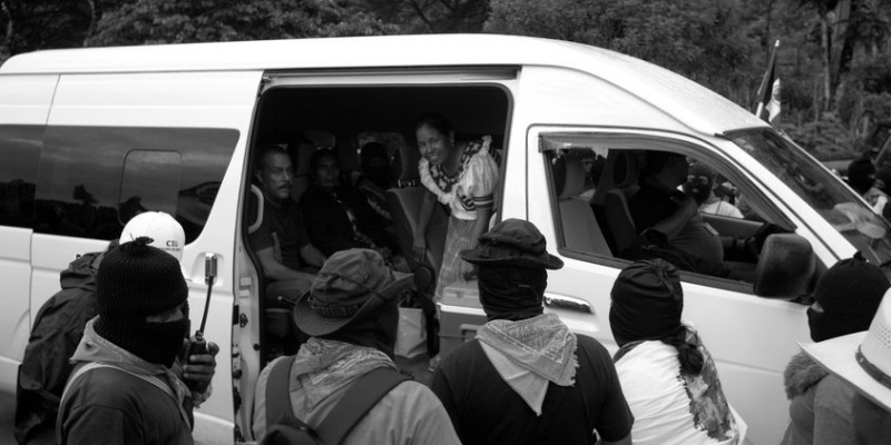 Marichuy Patricio Martinez is hosted by the Zapatista rebels in their Caracol Morelia venue, October 15, 2017. Patricio Martinez and the Indigenous Governing Council visited the Zapatista stronghold in Morelia, Chiapas where the Zapatistas support the decision to participate in the 2018 election for Presidency of Mexico. Photo by Heriberto Rodriguez