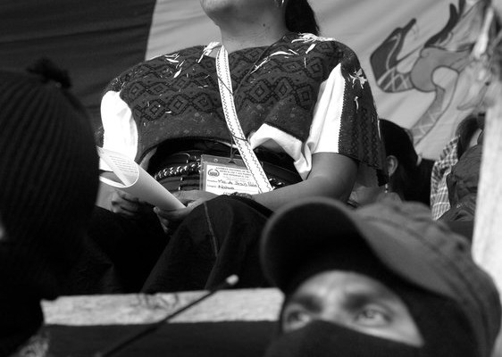 Marichuy Patricio Martinez, the spokewoman of the Indigenous Governing Council, attends a rally in the Zapatista Caracol of Oventik, in the southern state of Chiapas, October 19, 2017. Marichuy Patricio started a trip in the five Caracoles venues where the Zapatista rebels demonstrate their support to run for te Presidency of Mexico. Photo by Heriberto Rodriguez